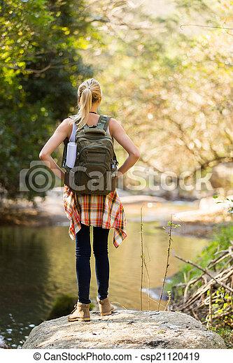 山, 女, 若い, ハイキング - csp21120419