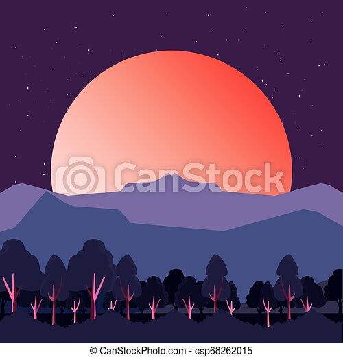 山, 木, 日没, 自然, 風景 - csp68262015