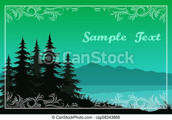 山, 木, 湖 - csp58343868