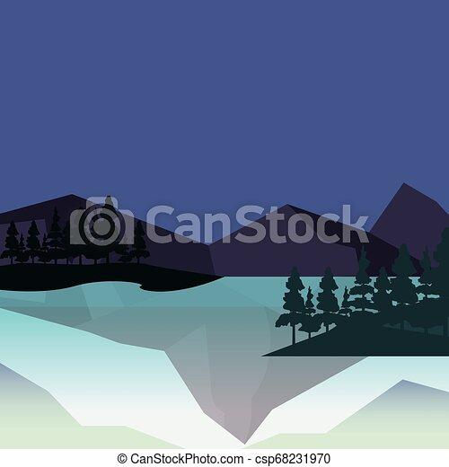 山, 木, 自然, 湖, 風景 - csp68231970