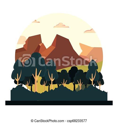 山, 木, 自然, 群葉, 風景 - csp68233577