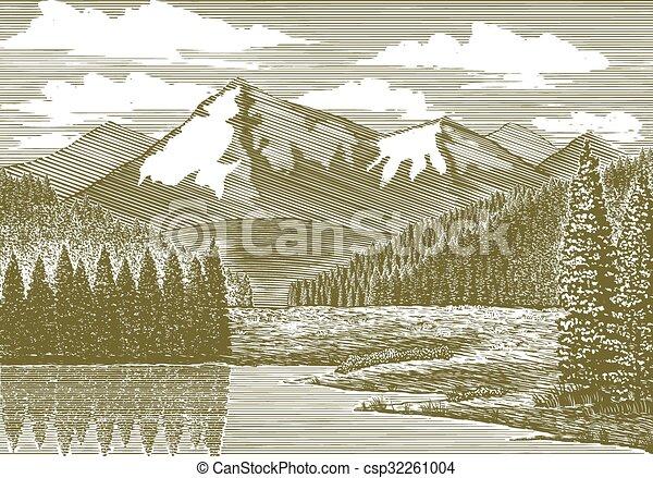 山, 河, 木刻 - csp32261004