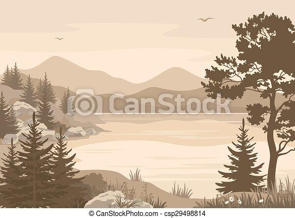 山, 湖, 風景, 木, 鳥 - csp29498814