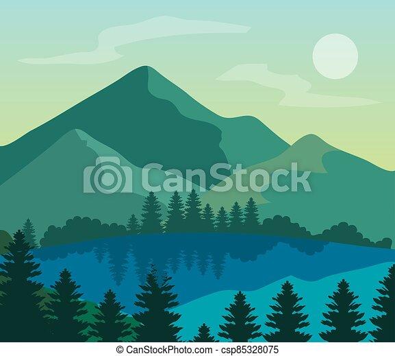 山, 湖, 風景, 自然, 木, 松 - csp85328075
