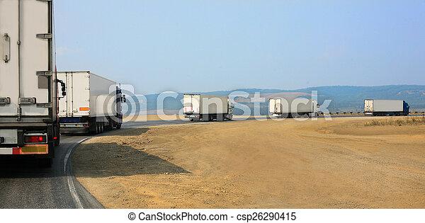 山, 移動, 卡車, 路 - csp26290415