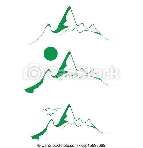 山, 紋章, セット, 木, 緑 - csp15693669