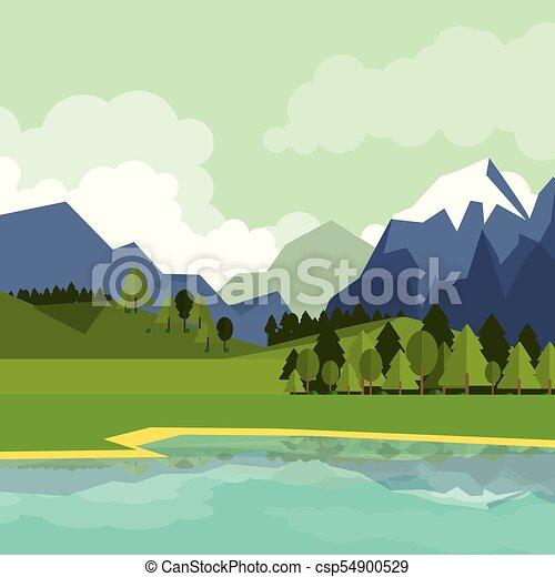 山, 自然, カラフルである, 湖, 背景, 風景 - csp54900529