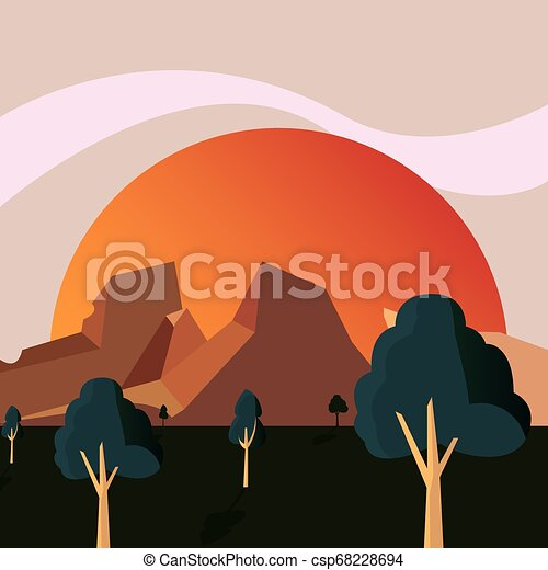 山, 自然, 太陽, 地勢, 木, 風景 - csp68228694