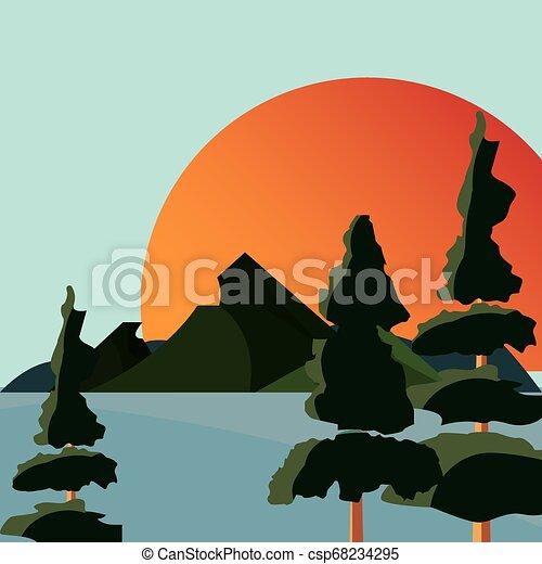 山, 自然, 太陽, 湖, 木, 風景 - csp68234295