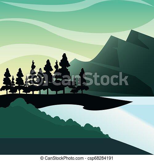 山, 自然, 湖, 松, ブッシュ, 森林, 風景 - csp68284191