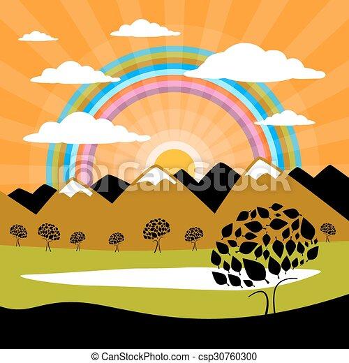山, 雲, 自然, 太陽, 木, 湖, 背景 - csp30760300