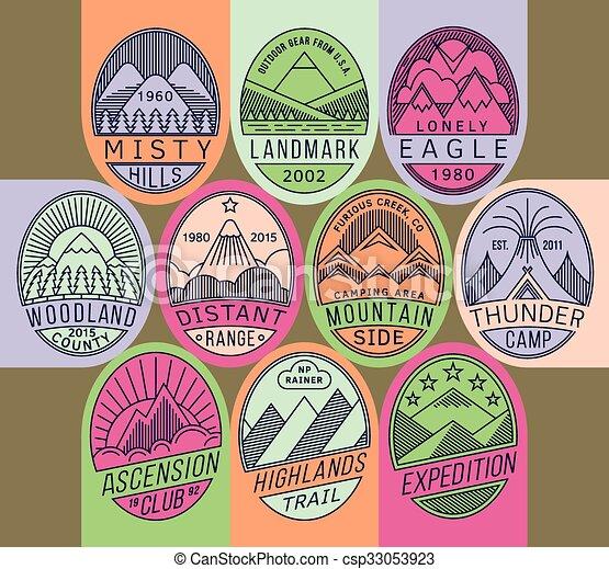 山, 2, 線性, 徽章, mono - csp33053923