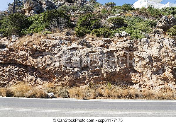 山, crete., 道, アスファルト, 島 - csp64177175