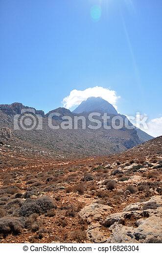 山, island., ほこりまみれである, ギリシャ語, 赤い道 - csp16826304