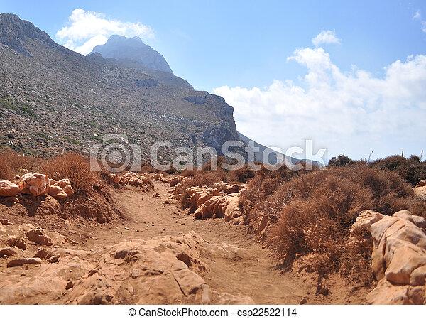 山, island., ほこりまみれである, ギリシャ語, 赤い道 - csp22522114