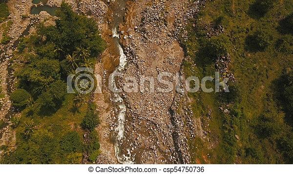 山, rainforest., camiguin, 島, 川, フィリピン。 - csp54750736