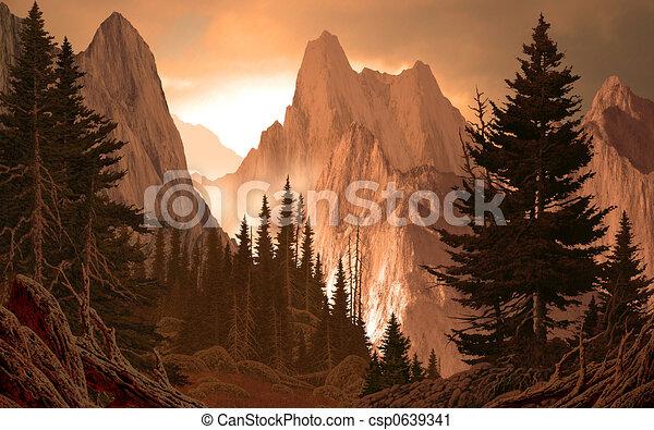 峡谷, ロッキーズ, 山 - csp0639341
