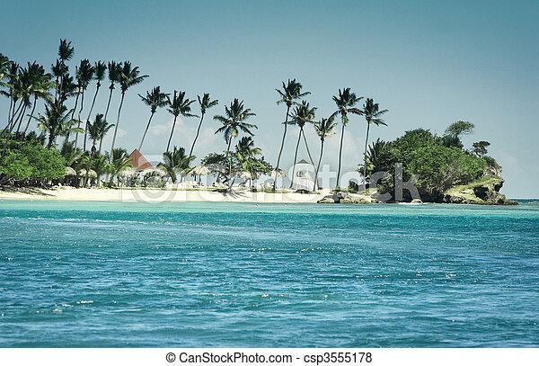 島, 光景, カリブ海, 湾 - csp3555178