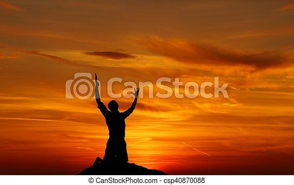 崇拝者, 景色, 空, 祈ること, 絶望, 劇的 - csp40870088