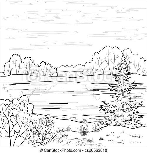 川, 景色。, 森林, アウトライン - csp6563818