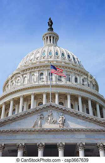 州議會大廈, 華盛頓特區, 美國旗, 小山 - csp3667639
