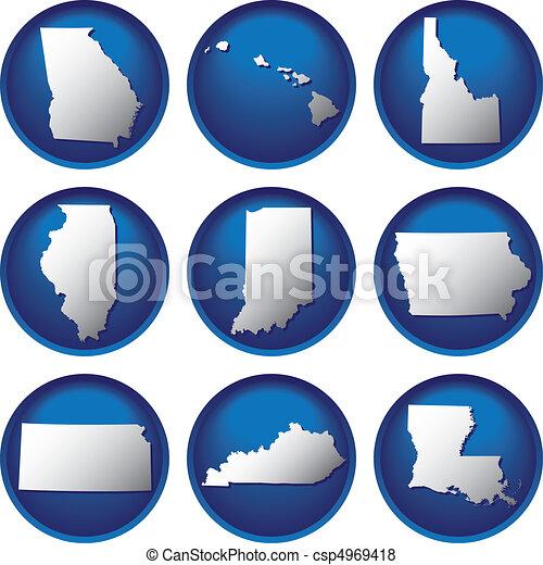 州, ボタン, 合併した, 9 - csp4969418