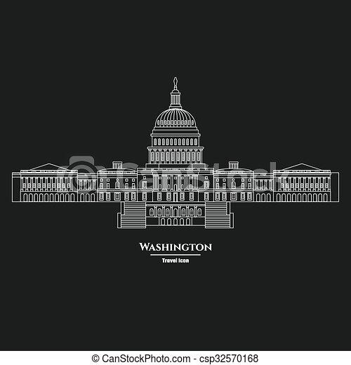州, 合併した, 国会議事堂, ワシントン, 1, アイコン - csp32570168