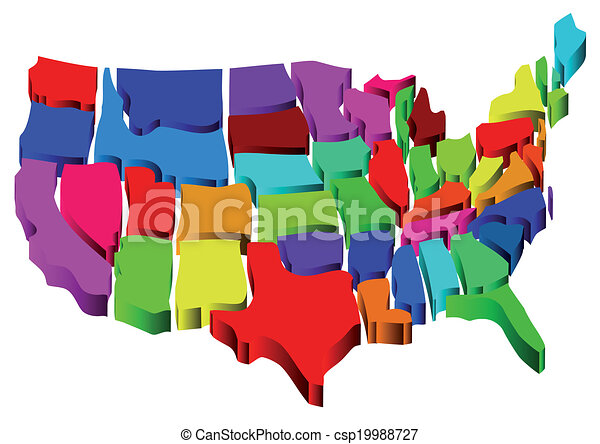 州, 地図, 合併した - csp19988727