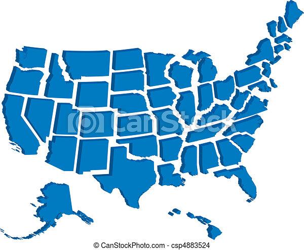州, 地図, 合併した, 3d - csp4883524