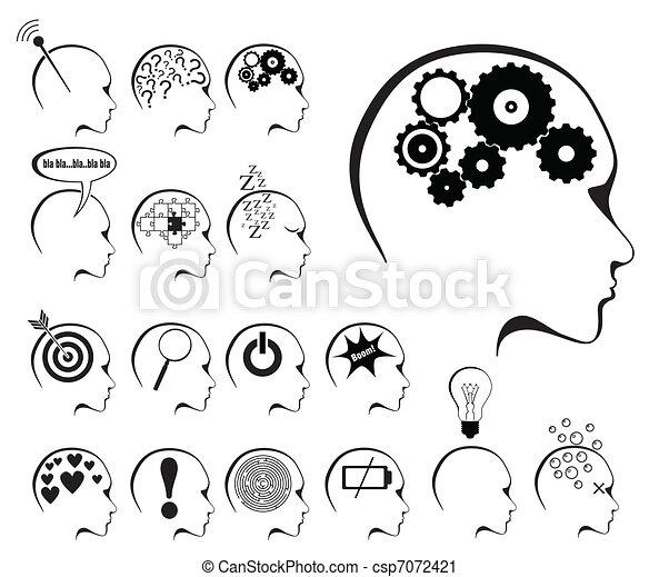 州, 脳, セット, アイコン, 活動 - csp7072421