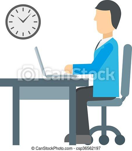 工作, 矢量, illustration., 時間 - csp36562197