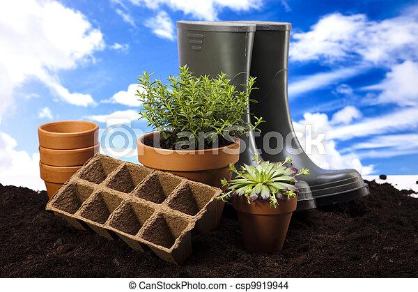 工具, 花園, 靴子 - csp9919944