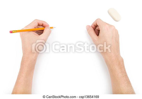 左利き, 何か, 鉛筆, 執筆 - csp13654169
