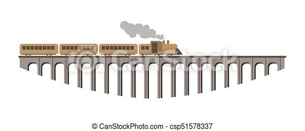 巨大, 古い橋, 型, 長い間, 列車, 蒸気 - csp51578337