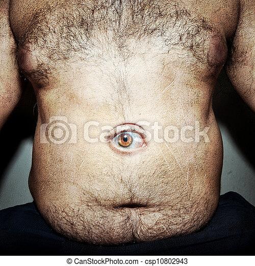 人, 巨大, 腹, 脂肪, 汚い.