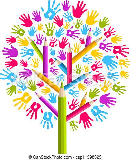 差异, 教育, 树, 手矢量