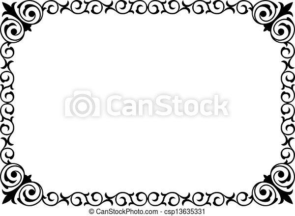 巻き毛, フレーム, 黒, 筆跡, バロック式, カリグラフィー - csp13635331