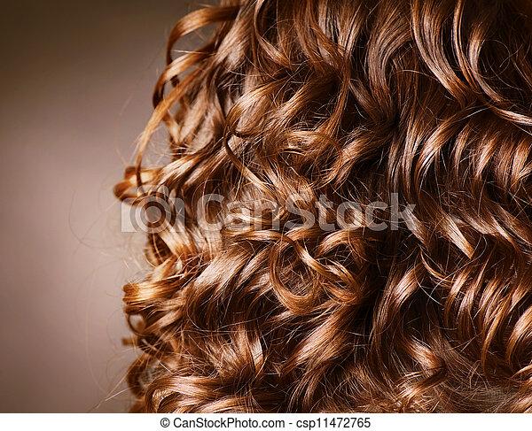 巻き毛, .natural, 波, 毛, hair., hairdressing. - csp11472765