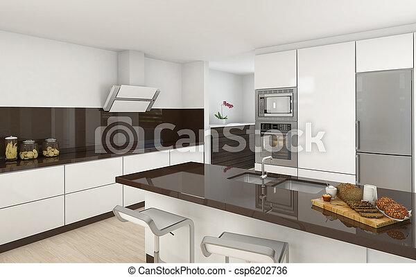 布朗, 白色, 现代, 厨房 - csp6202736