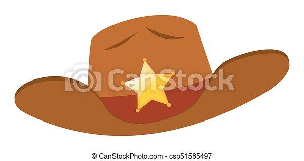 帽子, バッジ, 星, 保安官 - csp51585497