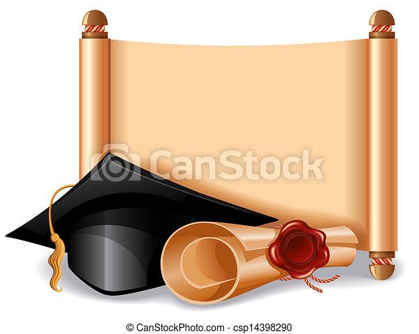 帽子, 卒業証書, 卒業 - csp14398290