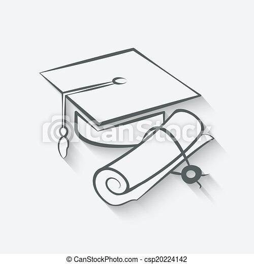 帽子, 卒業証書, 卒業 - csp20224142