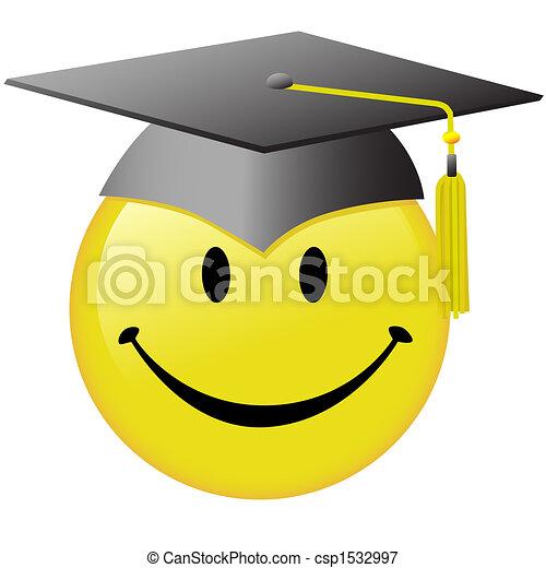 帽子, 按鈕, 笑臉符, 畢業, 畢業生, 臉, 愉快 - csp1532997