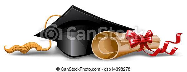 帽子, 畢業証書, 畢業 - csp14398278