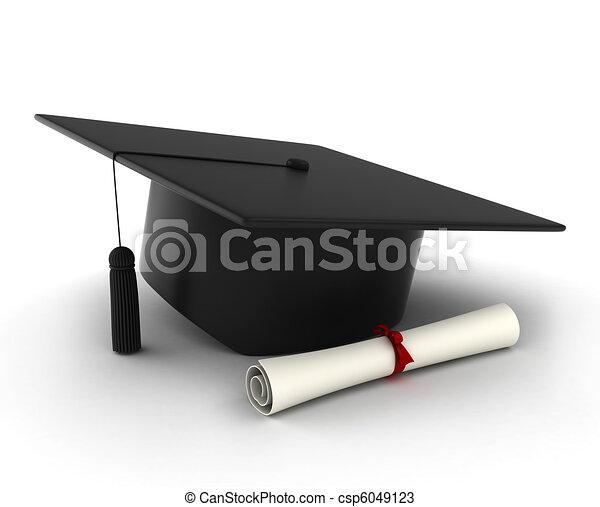 帽子, 畢業証書, 畢業 - csp6049123