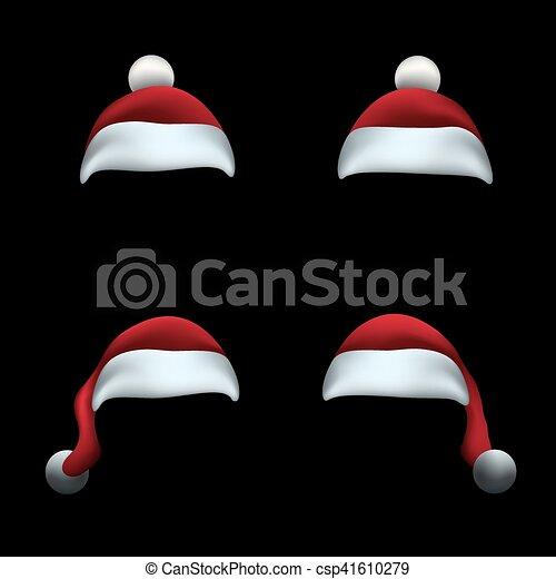 帽子, 黒, santa, 背景 - csp41610279