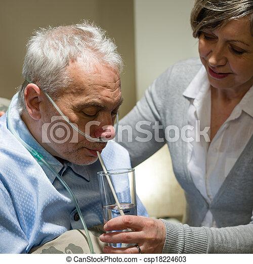 幫助, 有病, 護士, 年長者, 喝酒, 人 - csp18224603