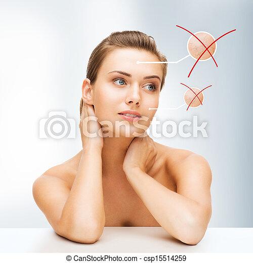 干燥, 皮肤, 妇女脸 - csp15514259