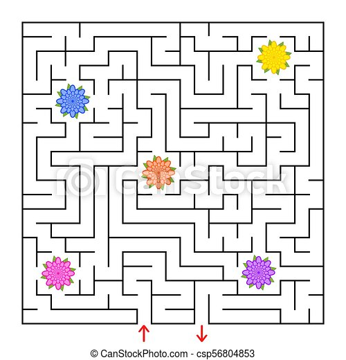 平ら, すべて, 広場, illustration., labyrinth., 単純である, 隔離された, 集めなさい, ベクトル, 方法, 花, maze., ファインド, から - csp56804853