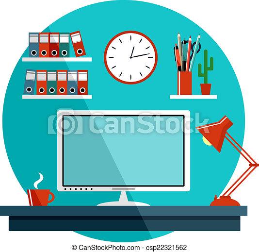 平ら, もの, オフィス, equipment., イラスト, ベクトル - csp22321562